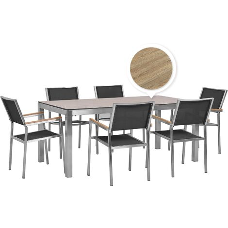 6 Seater Garden Dining Set Oak Veneer HPL Top with Black Chairs GROSSETO