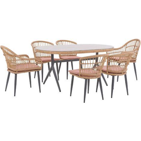 6 Seater Garden Dining Set Pink ALIANO