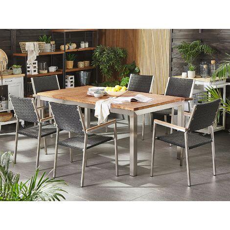 6 Seater Garden Dining Set Teak Wood Top Black Rattan Chairs Grosseto