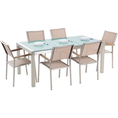 6 Seater Garden Dining Set Triple Plate Cracked Ice Glass Top with Beige Chairs GROSSETO