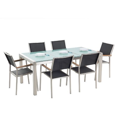 6 Seater Garden Dining Set Triple Plate Cracked Ice Glass Top with Black Chairs GROSSETO
