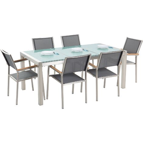 6 Seater Garden Dining Set Triple Plate Cracked Ice Glass Top with Grey Chairs GROSSETO