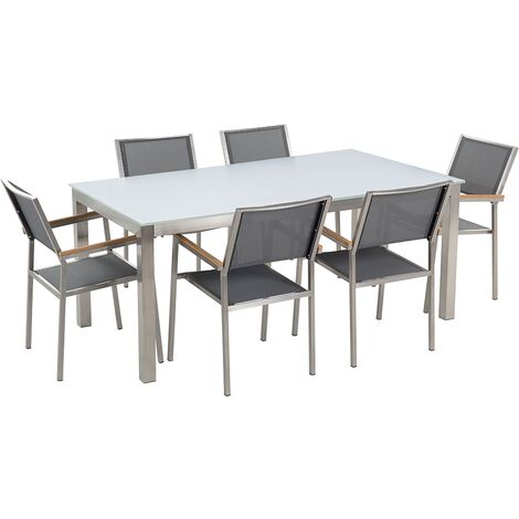 6 Seater Garden Dining Set White Glass Top Grey Chairs Steel Frame Grosseto