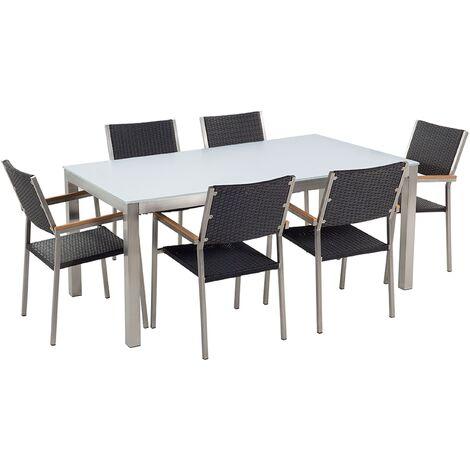6 Seater Garden Dining Set White Glass Top Rattan Chairs Steel Frame Grosseto