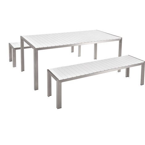 6 Seater Garden Dining Set White NARDO