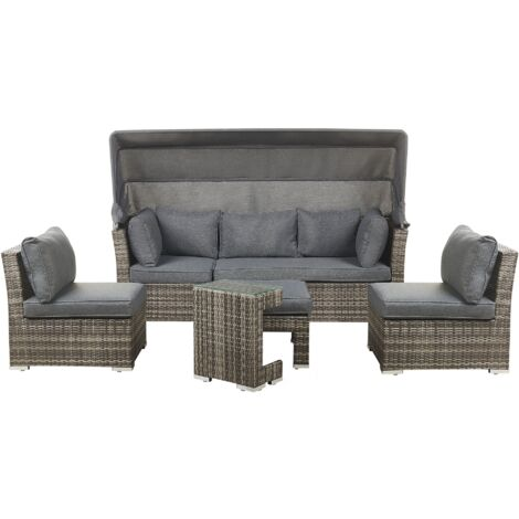 6 Seater Garden Lounge Set with Canopy Grey CORTE
