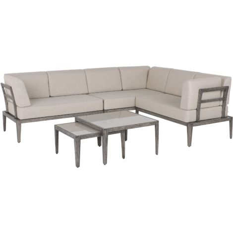 6 Seater Garden Sofa Set Beige RIMA