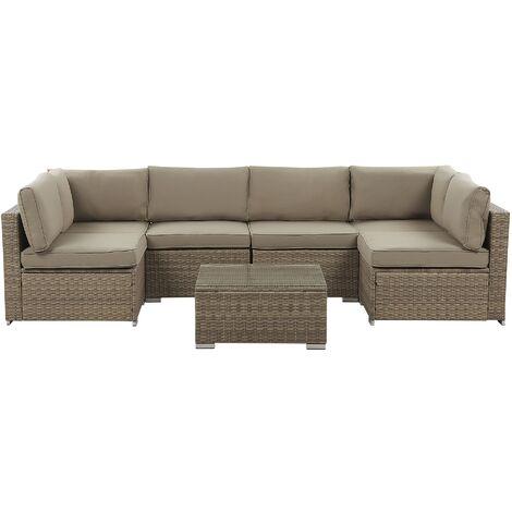 6 Seater Rattan Garden Lounge Set Brown BELVEDERE