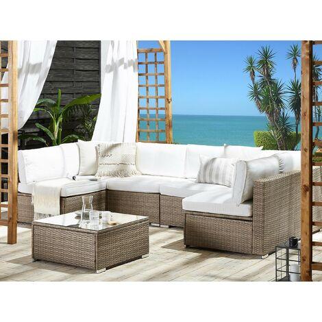 6 Seater Rattan Garden Lounge Set White BELVEDERE