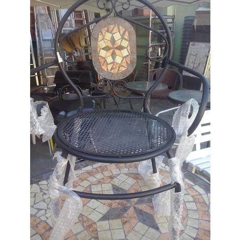 6 sedie in ferro battuto con mosaico in pietra