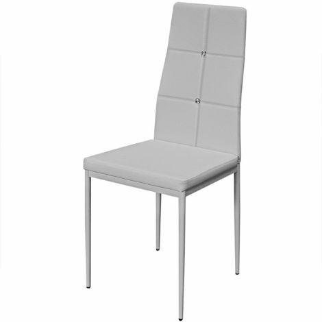 6 sedie per sala da pranzo bianche / nere imbottite con schienale ...