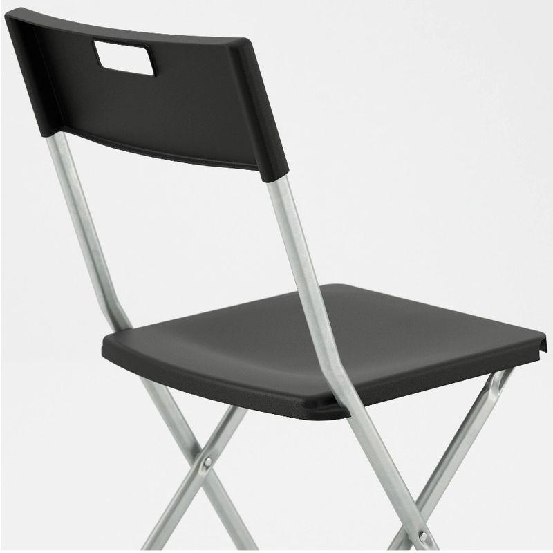 Sedie Pieghevoli Imbottite Ikea.6 Sedie Sedia Poltrona Pieghevole Nera Ikea Gunde In Acciaio Ferro