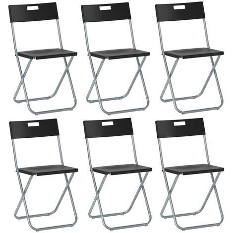 Sedie Pieghevoli Trasparenti Ikea.6 Sedie Sedia Poltrona Pieghevole Nera Ikea Gunde In Acciaio