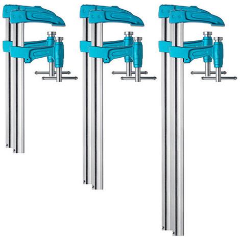 6 serre-joints à pompe 4003-P (35 x 8) saillie de 107 mm - 2 x L. 60 cm, 2 x L. 80 cm, 2 x L. 100 cm - 8590008 - Urko