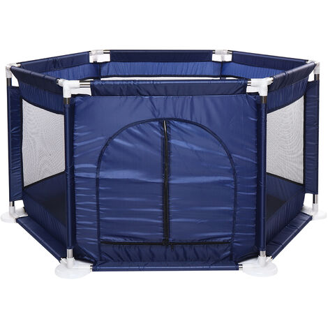 6 Side Folding Portable Playpen Pool NavyBlue 113x130x60cm
