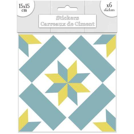 6 Stickers carreaux de ciment - 15 x 15 cm - Bleu et jaune - Jaune