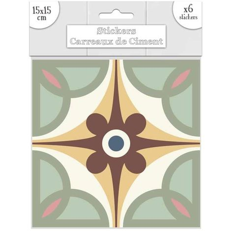 6 Stickers carreaux de ciment - 15 x 15 cm - Bleu et marron - Marron