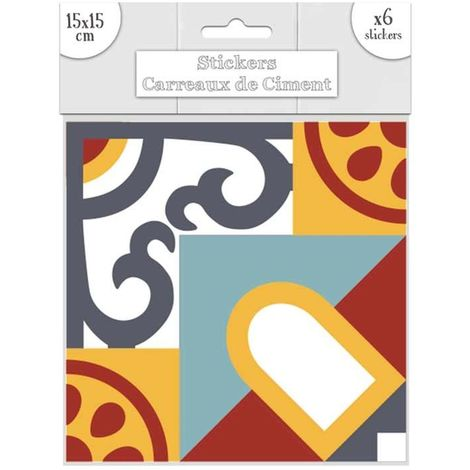 6 Stickers carreaux de ciment - 15 x 15 cm - Bleu et orange - Orange