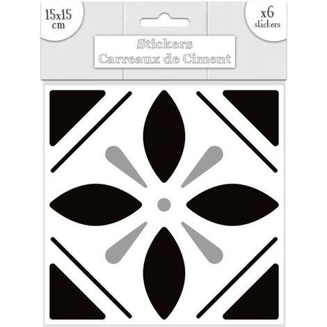 6 Stickers carreaux de ciment - 15 x 15 cm - Noir et blanc - Blanc