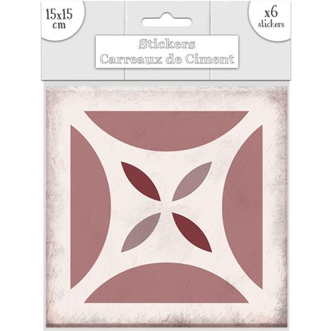 6 Stickers carreaux de ciment Carré - 15 x 15 cm - Rose - Rose