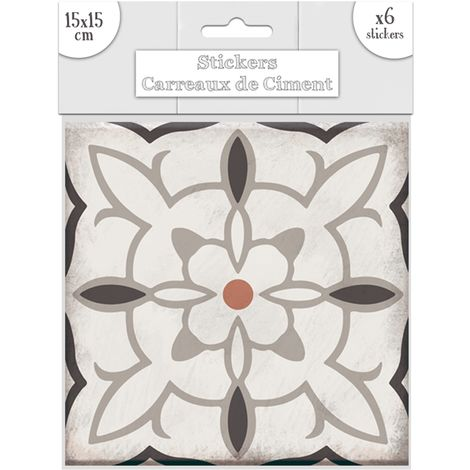 6 Stickers carreaux de ciment Carré - 15 x 15 cm - Taupe - Taupe