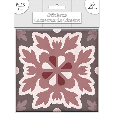 6 Stickers carreaux de ciment Feuilles - 15 x 15 cm - Rose - Rose