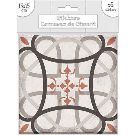 """main image of """"6 Stickers carreaux de ciment Flèches - 15 x 15 cm - 15 x 15 x 0,1 - Taupe"""""""
