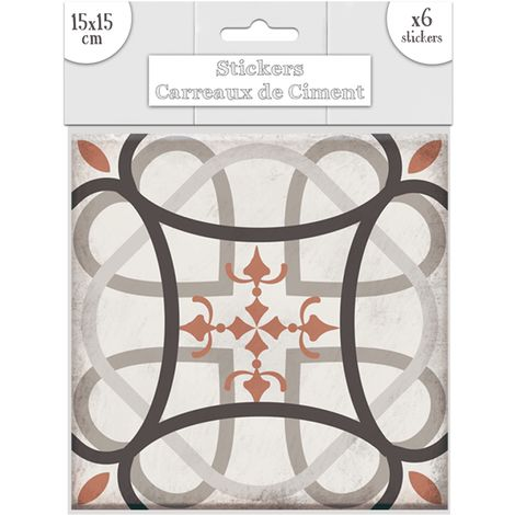 6 Stickers carreaux de ciment Flèches - 15 x 15 cm - Taupe - Taupe