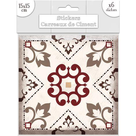 """main image of """"6 Stickers carreaux de ciment Fleurs - 15 x 15 cm - 15 x 15 x 0,1 - Marron"""""""