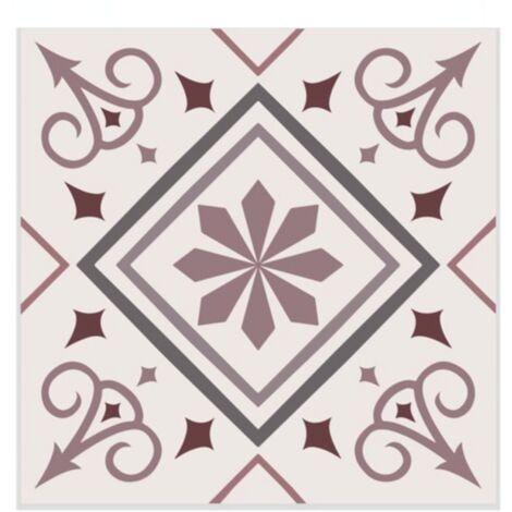 """main image of """"6 Stickers carreaux de ciment Fleurs - 15 x 15 cm - 15 x 15 x 0,1 - Rose"""""""