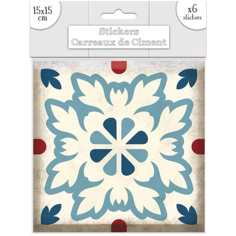 6 Stickers carreaux de ciment Fleurs - 15 x 15 cm - Bleu - Bleu