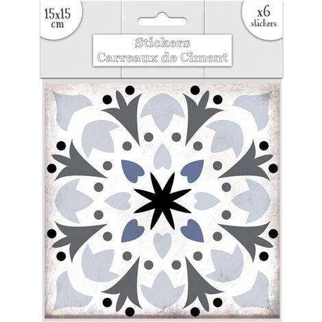 6 Stickers carreaux de ciment Fleurs - 15 x 15 cm - Bleu - Gris