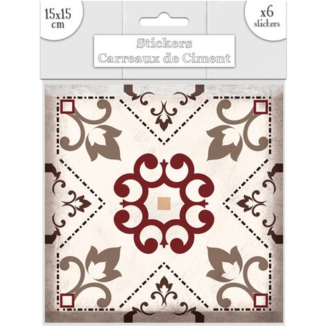 6 Stickers carreaux de ciment Fleurs - 15 x 15 cm - Brun - Marron