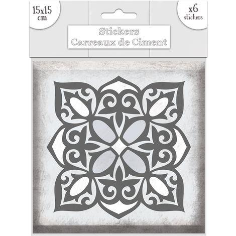 6 Stickers carreaux de ciment Fleurs - 15 x 15 cm - Gris - Gris
