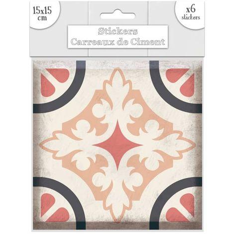 6 Stickers carreaux de ciment Fleurs - 15 x 15 cm - Rose - Rose
