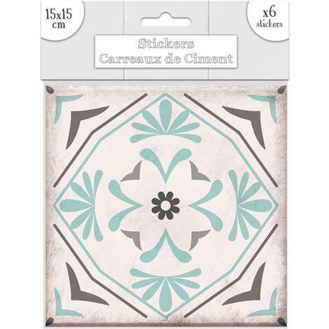 6 Stickers carreaux de ciment Fleurs - 15 x 15 cm - Vert - Vert