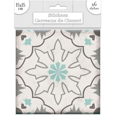6 Stickers carreaux de ciment Flocons - 15 x 15 cm - Vert - Vert