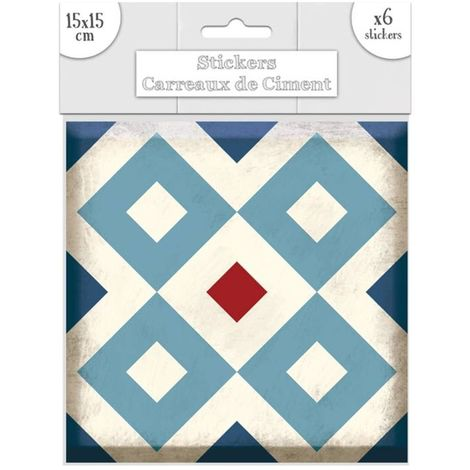 6 Stickers carreaux de ciment Losange - 15 x 15 cm - Bleu - Bleu