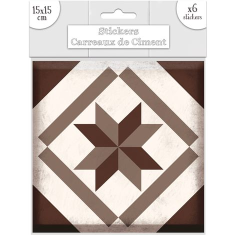 6 Stickers carreaux de ciment Losange - 15 x 15 cm - Brun - Marron