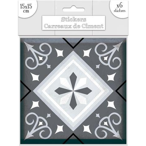 6 Stickers carreaux de ciment Losange - 15 x 15 cm - Gris - Gris