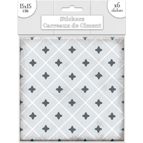 6 Stickers carreaux de ciment Losange - 15 x 15 cm - Gris - Gris