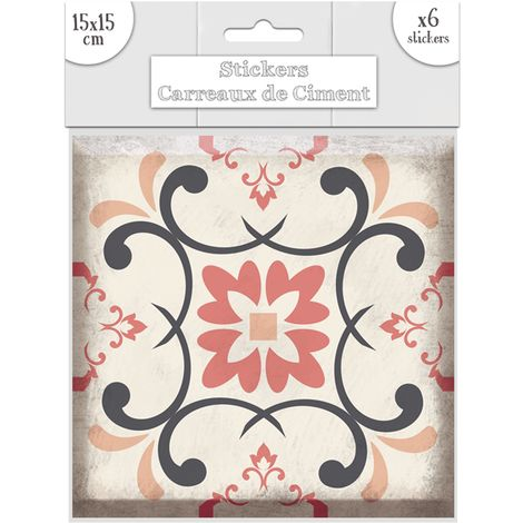 6 Stickers carreaux de ciment Losange - 15 x 15 cm - Rose - Rose