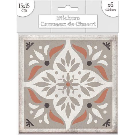 6 Stickers Carreaux De Ciment Losange 15 X 15 Cm Taupe