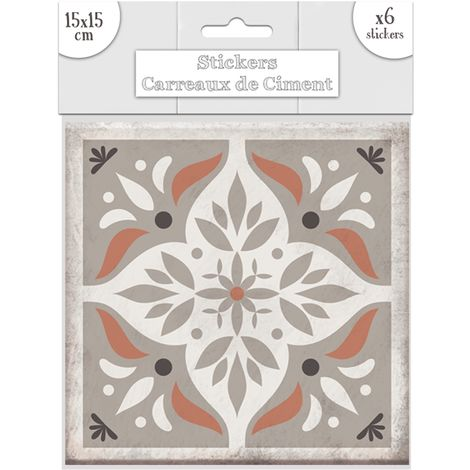 6 Stickers carreaux de ciment Losange - 15 x 15 cm - Taupe - Taupe