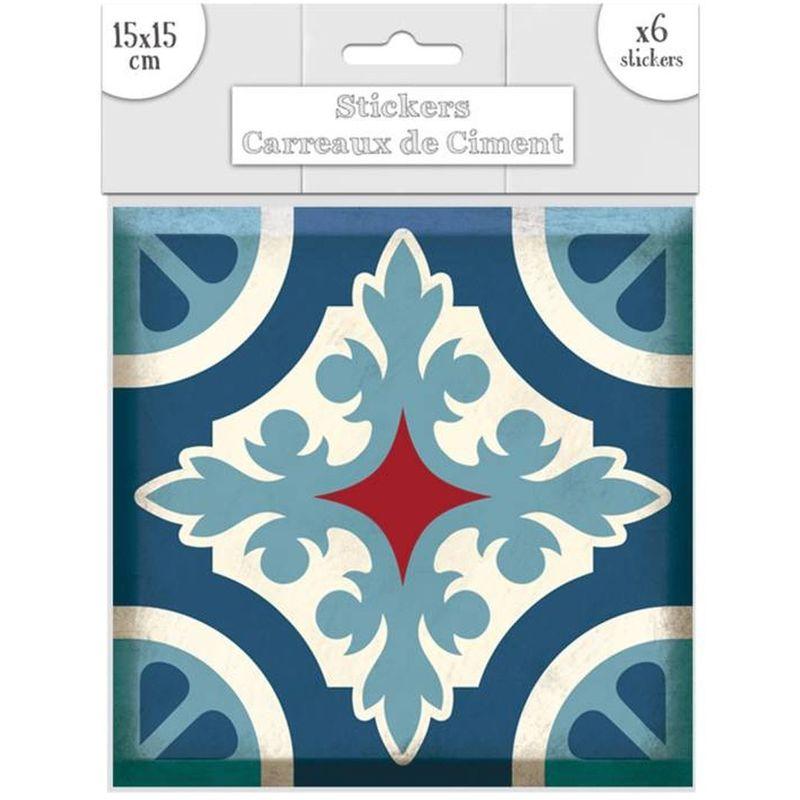15 x 15 cm 6 Stickers carreaux de ciment Lys Bleu