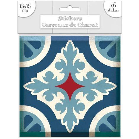 6 Stickers carreaux de ciment Lys - 15 x 15 cm - Bleu