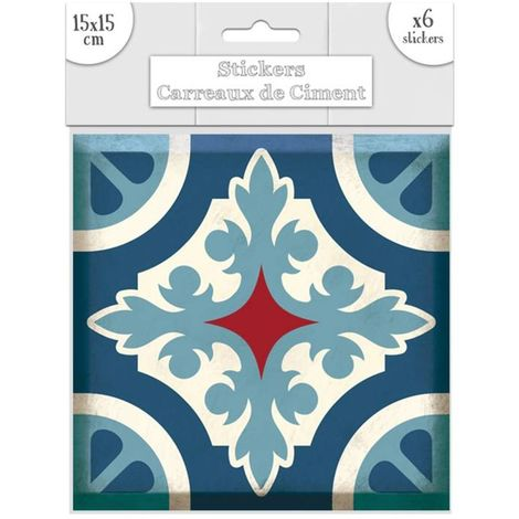 6 Stickers carreaux de ciment Lys - 15 x 15 cm - Bleu - Bleu