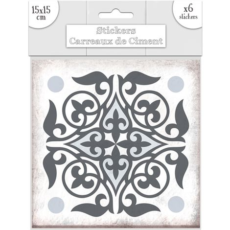 6 Stickers carreaux de ciment Lys - 15 x 15 cm - Bleu - Gris