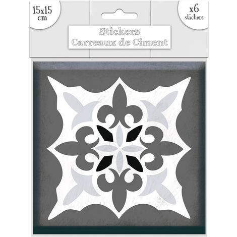 6 Stickers carreaux de ciment Lys - 15 x 15 cm - Gris - Gris