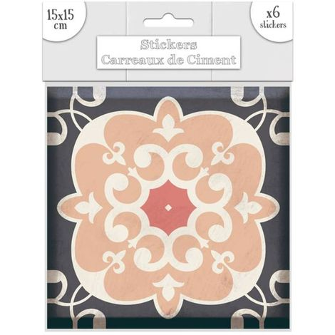 6 Stickers carreaux de ciment Lys - 15 x 15 cm - Rose - Rose